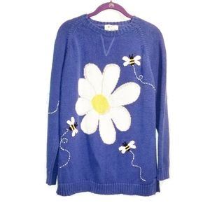QUACKER FACTORY buzzy bees and daisy sweater